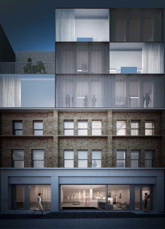 render facade stone brick floor to ceiling glazing curtains.jpg